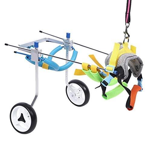 Justierbarer Haustier Rollstuhl (für Hinterbeine Behinderte Hund) Aluminiumlegierung Silber Doppel-Rad-Haustier Rollstuhl Behinderten Hund Assisted-Weg Auto Hinterbein Rehabilitation Hilfs Auto