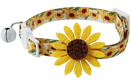 Flower Cat Collar with Detachable Sunflower Charm,Yellow Breakaway Kitten Collar with Bell