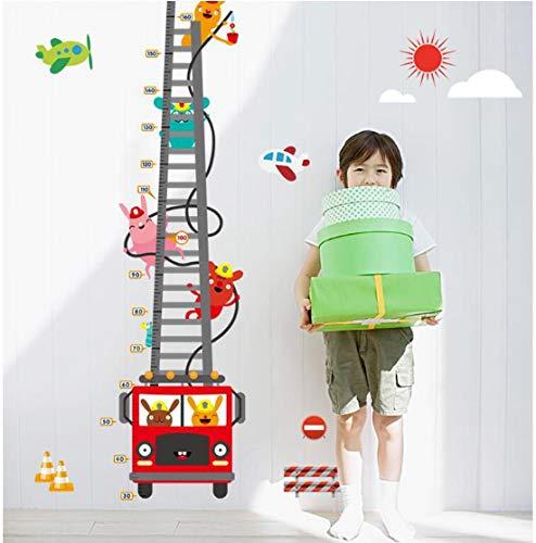 Medidor de altura para niños camión contra incendios Gráfico de altura de dibujos animados Pegatinas de pared Decoración del hogar decoración del hogar 60 * 90 cm