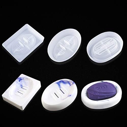 FineInno 3 Pcs Epoxidharz Formen Seifenschale Silikonform mit Ablassen Kunstharz Schmucktablett Formen für DIY Silikonseifenschachtel Halter Form (Seifenschalenformen)