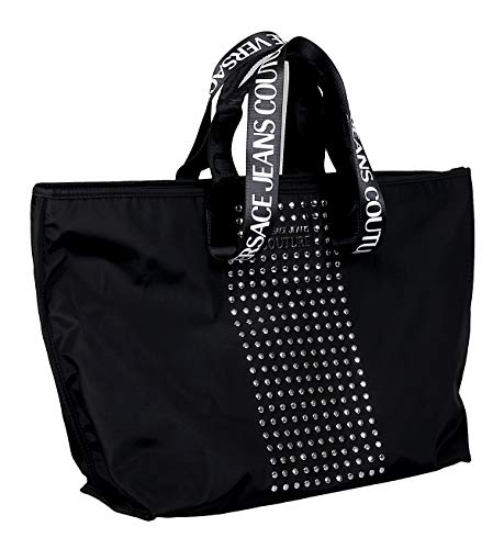 Versace Jeans Couture Black Studded Large Shopper Tote Bag for womens