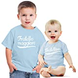 Shirtgeil Fratello Maggiore e fratellino Set per Neonati e Neonate Idea Regalo per Nascita Bimbo Celeste 3-4 Anni (96/104cm) / Neonato Celeste 0-3 Mesi