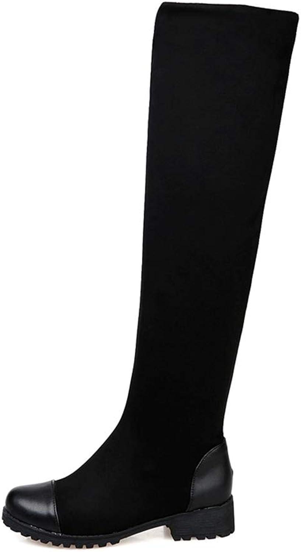 T -JULY kvinnor Knee Knee Knee höga stövlar Winter mode Ladies Flock Round Toe Blandade Toe Blandade Färgskor Kvinna Skor På Square Mid klackar Boot  rabattbutik
