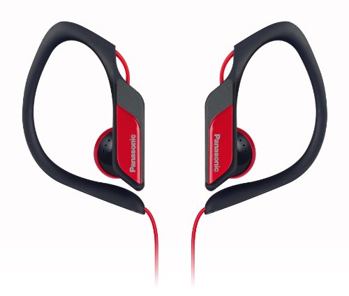 Panasonic Sports Clip Earbud Headphones RP-HS34-R (Red) Water Resistant, Tough, Durable, Adjustable Ear Clip, Ultra Light