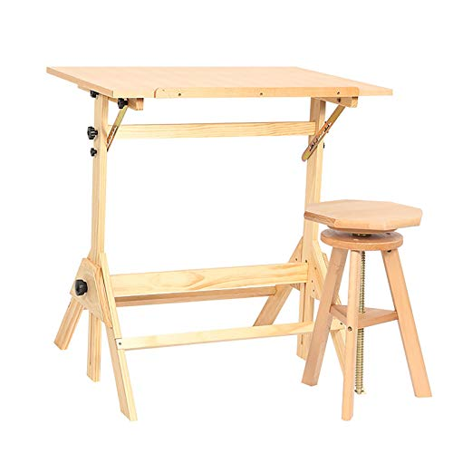 ZDAMN Mesa de pintura de madera maciza mesa de pintura al óleo Mesa de altura ajustable Mesa de pintura de arte fino Mesa de dibujo Mesas de dibujo para arte (color: natural, tamaño: 90 x 60 x 75 cm)