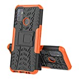 SHIEID Case for OPPO A53 Phone Cases, Kickstand Heavy Duty Armor Cover Shock Proof with Anti-Scratch Ultra-Thin, Double Layer Design Silicone TPU + Hard PC Phone Cover for OPPO A53, Orange