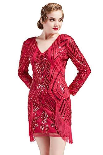 Coucoland Damen 1920s Kleid Sexy V Ausschnitt Lang Ärmel Flapper Charleston Fransen Kleid 20er Jahre Paillettenkleider Great Gatsby Cocktail Party Damen Fasching Kostüm Kleid (Rose Rot, XL)