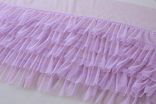 Lace Crafts - Lavender Ruffled Tulle, Pink Pleated mesh, Tutu Dress Fabric, Ruffle mesh, Doll Dress Fabric, Wedding Decors - (Color: Lavender)