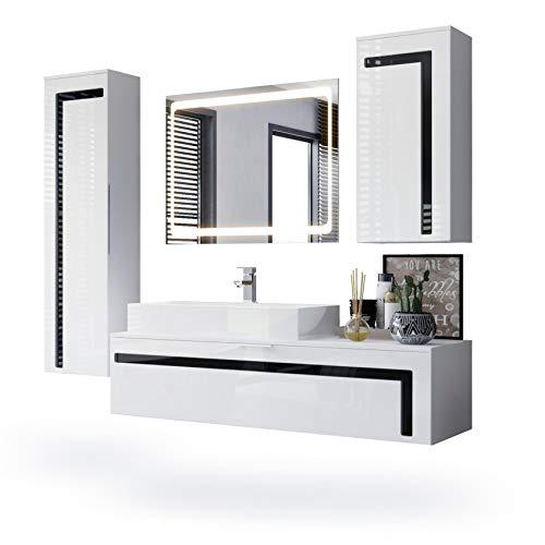 Conjunto de Muebles para baño Aloha, Cuerpo en Blanco Mate/Frentes en Blanco de Alto Brillo con molduras en Negro de Alto Brillo con Lavabo y Espejo LED