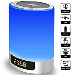 Alarm Clock with Bluetooth Speakers, Kids Night Light Touch Sensor LED Color Bedside Lamp, Portable Wireless MP3 Music Player for Bedrooms, Party