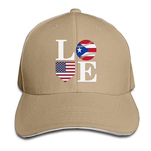 Preisvergleich Produktbild AOHOT Herren Damen Baseball Caps, Hüte,  Mützen,  Classic Baseball Cap,  Unisex Puerto Rican Love Baseball Home USA Trucker Cap Adjustable Peaked Sandwich Cap