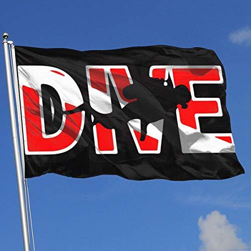 Zudrold Outdoor Flags Scuba Diving Dive Diver Flagge für Sportfan Fußball Basketball Baseball Hockey