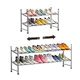Isyunen Zapatero con estantería telescópica para zapatos, zapatero extensible de metal, apilable para salón (gris, 2 estantes)