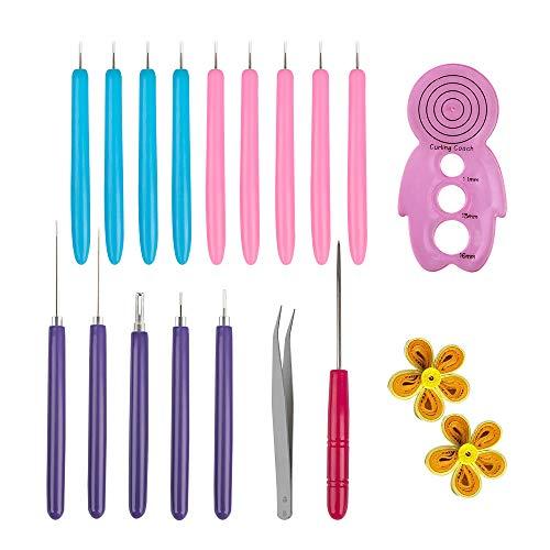 Kit de herramientas de quilling de papel de 16 piezas, bolígrafo de aguja ranurado...