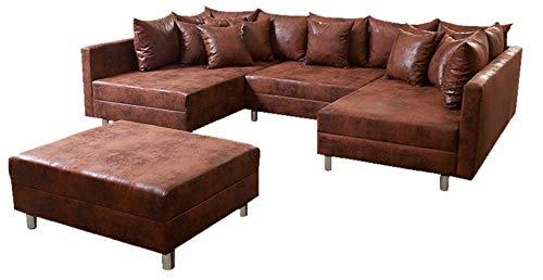 Wohnlandschaft Sofa Couch Ecksofa Eckcouch in Mikrofaser Vintage braun Minsk XXL