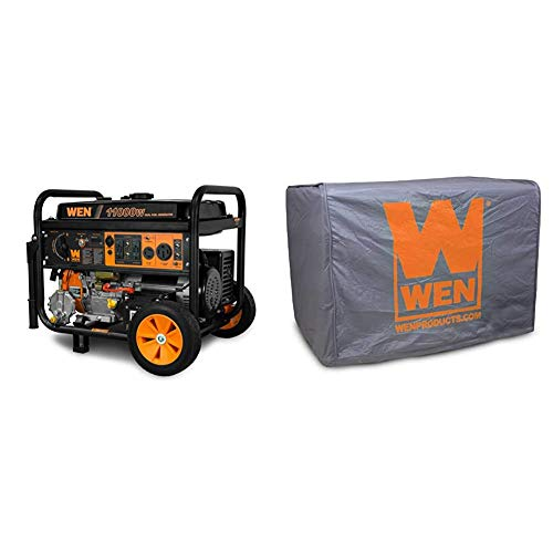 WEN DF1100T 11,000-Watt 120V/240V Dual Fuel Portable Generator with Wheel Kit and Electric Start - CARB Compliant, Black & 56310iC Universal Weatherproof Inverter Generator Cover, Large, Grey