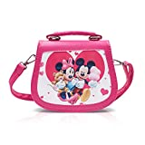 Finex Mickey Mouse and Minnie Mouse Pink PU Leather Small Crossbody Purse Bag