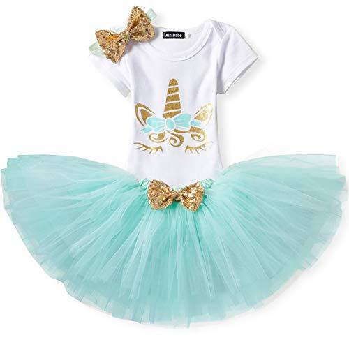 TTYAOVO Bebita 1er Cumpleaños Princesa Tutu Falda Ropa Conjunto de 3 Piezas Trajes Mameluco Falda Diadema (Leggings) 4-24 Meses 10-18 Meses Verde