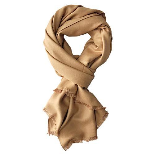 Lsgepavilion Bufanda de chal, para mujer, color liso, clido, fina, larga, de cachemira, bufanda de cachemira, abrigo de cuello, resistente al viento y clido, color camello