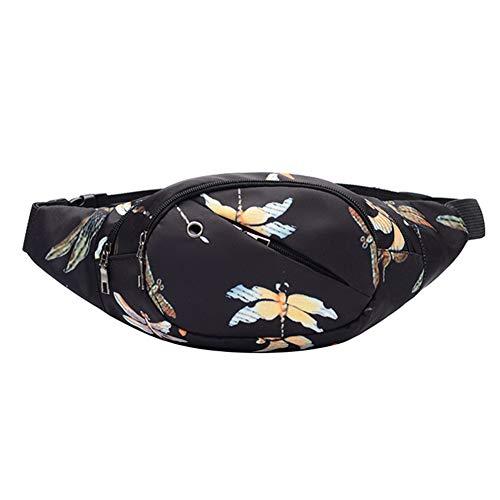 Jituan Bolsa de cintura Deportes al aire libre Bolsa de cinturón de mujer Running Riding Belt Bag Mujer Auricular Cinturón Bolsa de ocio Bolsa de gran capacidad Bolsa de cinturón impresa Monedero