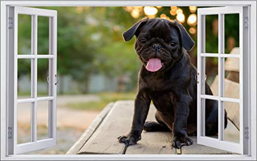 Fotografie Hund Mops Tier Wandtattoo Wandsticker Wandaufkleber F1889 Größe 60 cm x 90 cm