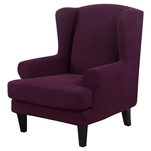 NIBESSER Sessel-Überwürfe Ohrensessel Überzug Bezug Sesselhusse Elastisch Stretch Husse für Ohrensessel(Gestrickt-lila)