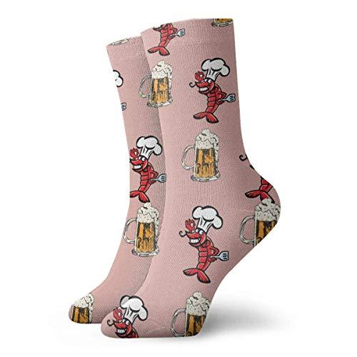 Kevin-Shop Cangrejo de río con Cerveza Calcetines Ligeros de calcetín Calcetines Casuales Calcetín de tripulación Que Absorbe la Humedad Calcetines Suaves y Transpirables