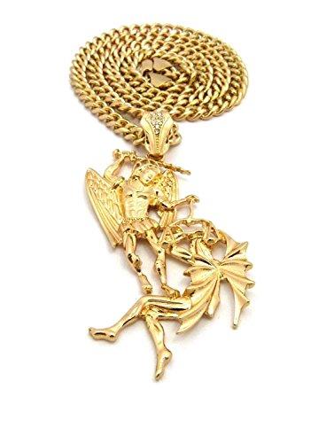 Shiny Jewelers USA Mens Saint Michael Archangel Gold Hip HOP PENDENT Cuban Chain Necklace (Cuban Chain Gold)