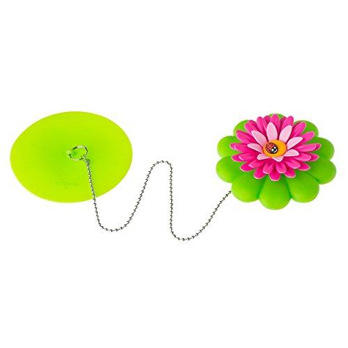 VIGAR Flower Power Tapón Bañera, Material: PPN, TPR, PVC Friendly, Goma, Stainless Acero, Verde, 10.5 x 10.5 x 3 cm