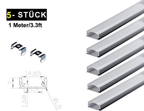 Ogeled LED Profi Aluminium Profile für LED-Strips (Zubehör) (U12mm (5 Stück), 1m)
