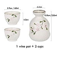 サカラワインセット酒セットセラミックフラゴンワインポットを飲むカップバーセット(1ポット+ 2カップ)