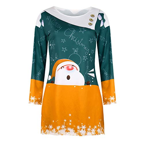 HebeTop New Christmas Women Sweatshirt Xmas Christmas Long Sleeve Sweatshirt Pullover Shirt Tops Blouse Yellow