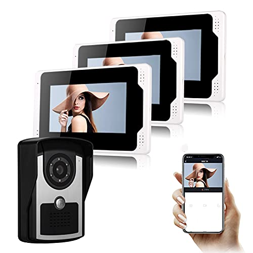 Videoportero con Cámara Sistema De Entrada con Intercomunicador Kits De Timbre De Teléfono con Videoportero WiFi con Cable Desbloqueo, Intercomunicador De Dos Vías Visión Nocturna por Infrarrojos,C