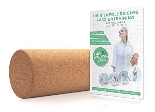 Kork Faszienrolle 30 x 15 cm mit ANLEITUNG im Faszien Set für Wirbelsäule, Rücken, Beine, Nacken, Brust Massagerolle für Yoga Training und Selbstmassage von Muskeln - Bindegewebe Stoffwechsel Training