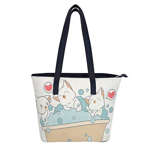 Süße Katzen sind Baden Badewanne Leder Damen Tote Bag Shopper Tasche Mode Handtaschen für Damen Big Top Griff Schultertaschen für Arbeit Shopping College