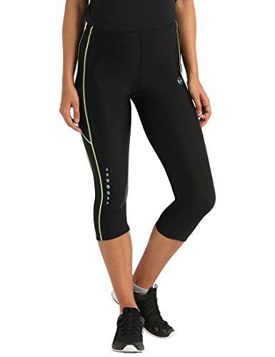 Ultrasport, Pantalones deportivos 3/4 para Mujer, Negro/Neon Amarillo, L