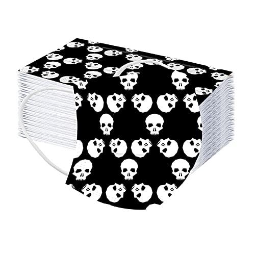 Halloween Children 50PCS Dustproof Shield Kids 3Ply Cute Ghost Printed Bandanas for Boys Girls (B, M)