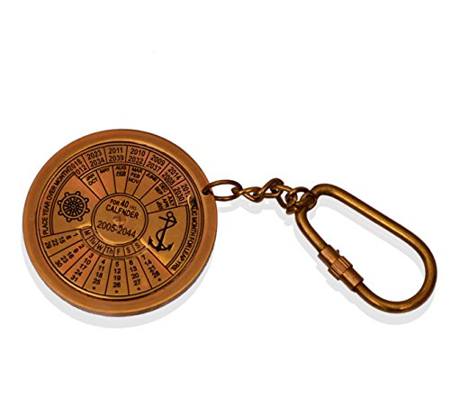 Purpledip sleutel ketting/ring antieke haak kalender: in sculpturen gevormd massief messing metaal; uniek cadeau-idee (10584)