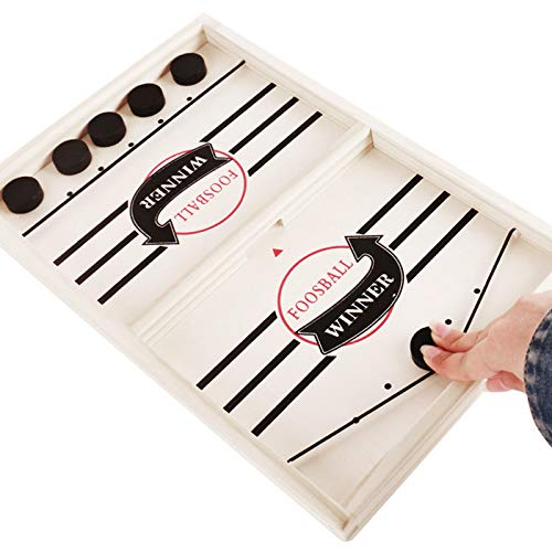 HiCollie Slingshot Game Toy, Table Hockey Party Game Ice Hockey Game Table Desktop Battle, Fast Slingshot Hockey Game 2 in 1 Portable Ice Ball Battle Game for Kids