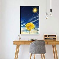 キャンバスペインティング 家の装飾サンシャインスカンジナビアの花の絵キャンバス絵画リビングルームの装飾ポスターとプリント壁アート写真 50x75cm