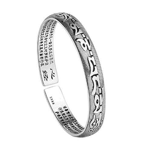 Pulsera de plata de ley para mujer, con escrituras budistas, para hombre, clásico, retro, seis palabras, mantra, pulsera abierta, joyería