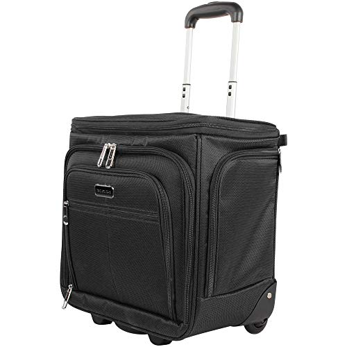 Ciao Designer 15 Inch Carry On - Weekender Overnight Business Travel Luggage- Convertible 2- Spinner Wheels Suitcase - Expandable Rolling Under Seat Bag (Black)