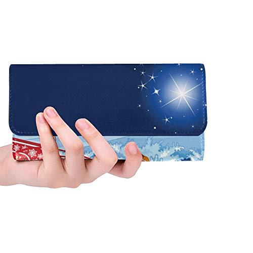 Einzigartige benutzerdefinierte Weihnachtsmann Seine Schlitten Frauen Trifold Wallet Lange Geldbörse Kreditkarteninhaber Fall Handtasche