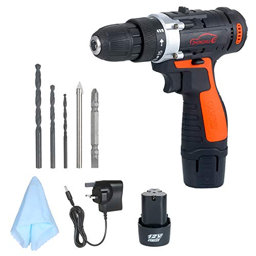 Kshzmoto 12V Cordless Drill/Driver Kit 1400rpm Variable Speed Polisher Car Buffer Waxer Set Power Screwdriver with Light Rechargeable with 5 Bits
