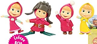 4 Psc Mini Figures Cartoon Series Masha and the Bear Toys to Children's Holiday, Party, Miniature, Surprise Baby, Party Favor Figurine Birthday Cake Toppers