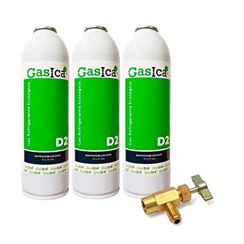 Todoelectrico - Pack 3 Botellas Gas refrigerante orgánico GASICA D2 sustituto R12/R134a 311.8GR para Aire Acondicionado más Llave de Servicio