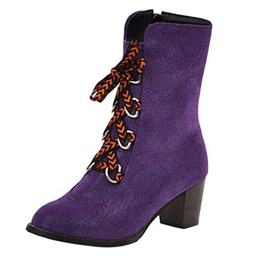 MMOOVV Damen Denim Schnürstiefeletten Kurz Stiefel Bequeme römische Stiefeletten mit niedrigen Absätzen (Lila 41EU)
