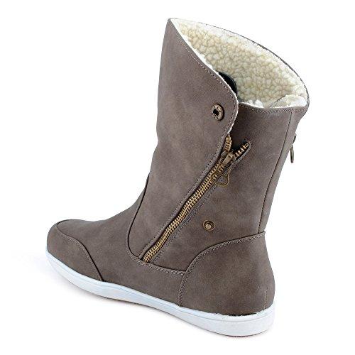 Fusskleidung Damen Boots Flach Gefütterte Schlupf Stiefel Stiefeletten Oliv EU 39