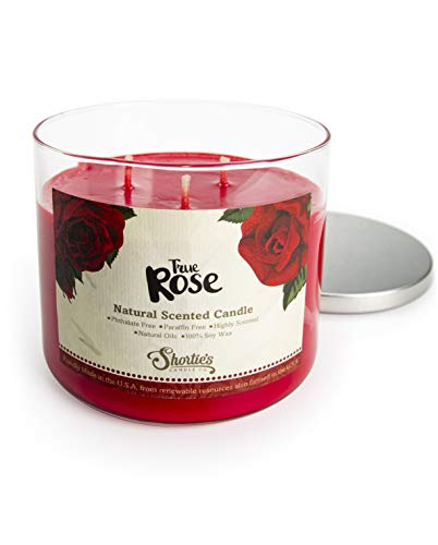 True Rose Scented 3 Wick Candle - All Natural - Made with 100% Responsibly Sourced Soy and Essential Fragrance Oils - Phthalate & Paraffin Free, Vegan, Non-Toxic