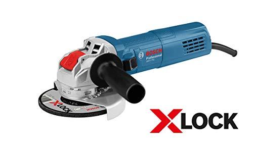 Bosch Professional GWX 750-125 - Amoladora angular (750W, 11000 rpm, X-LOCK, Ø disco 125 mm, set 5 discos de corte, en L-Case)